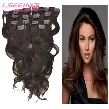 Best sales 7A Brazilian Body wave clip in hair #2 dark brown color human hair extension clip on hair 16-24inch free shipping