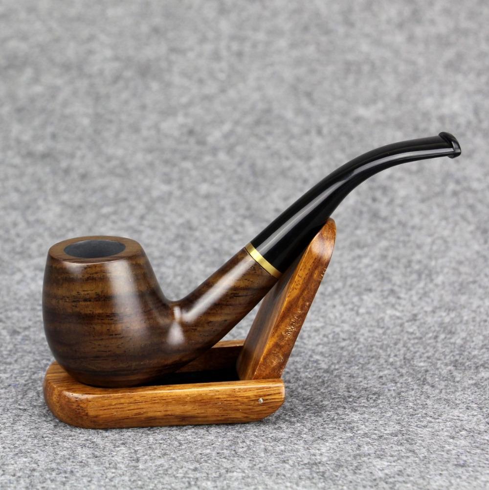Gift Set Smoking Pipe 15cm Tobacco Pipe 9mm Filter Wooden Pipe Metal Ring Style Smoke Pipe