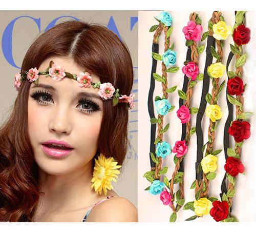 2014 new style Wholesale Bohemian Headband HAIRBANDS ROSE Flower Braided Leather Elastic Headwrap hairband Hair Ornaments(China (Mainland))