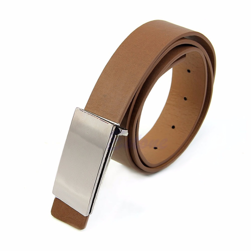 New Mens Faux Leather Metal Automatic Formal Buckle Dress Waist Band Strap Belts