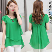 Buy 2017 Summer Plus size women chiffon blouses shirts o neck short sleeve double irregular solid fashion casual ladies tops Blusas for $7.99 in AliExpress store