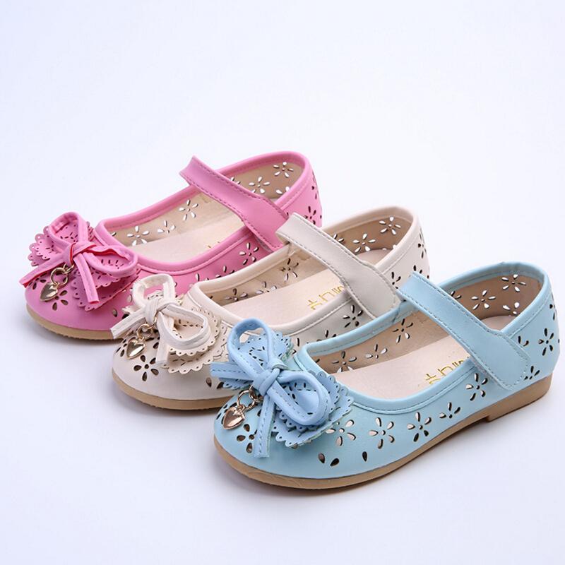 Spring autumn new breathable children leather font b shoes b font fashion princess girls single font