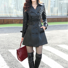 Free shipping Leather Coat Women Top Fashion 2015 Plus Size L-5XL Ladies Faux Synthetic Long Leather Slim Trench Coat Female(China (Mainland))