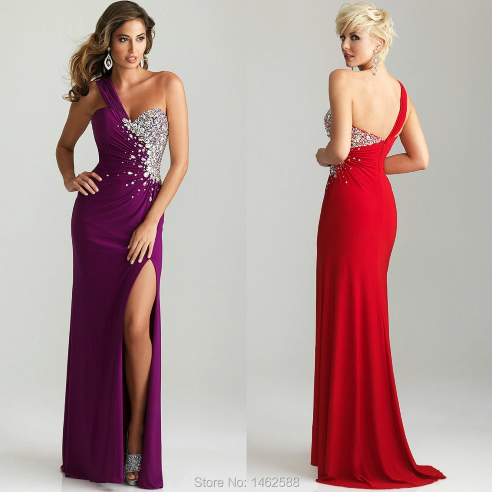 New Elegant Crystal Beaded Dark Purple Red Chiffon Long ...