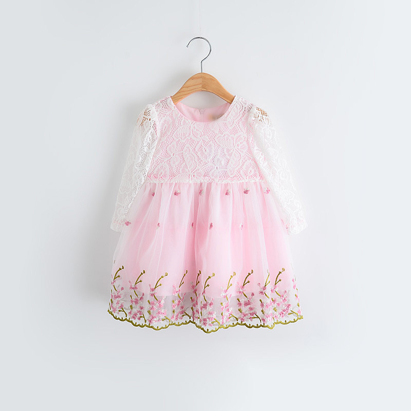 2016 New girls cute embroidery princess dress children dress long sleeve bow sashes 2 colors 6 pcs/lot wholesale 2976<br><br>Aliexpress