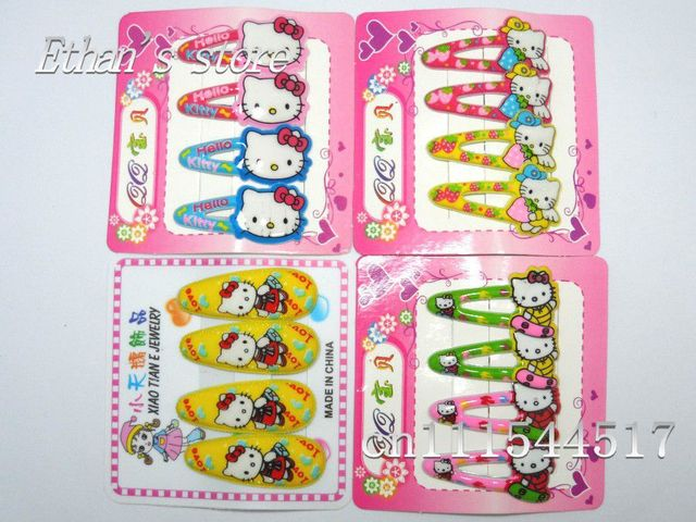 Kids Hello Kitty Hairwear  Baby Kids/Girls cartoon Hair Clips  Lots Free Shipping + Mix color