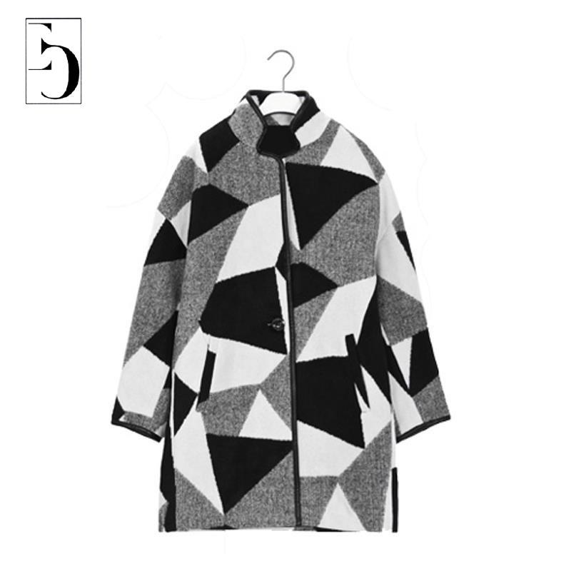 Women Plus Size Coat Winter Black And White Contrast Color Geometric Print Coat Casual Full Sleeve Slim Wool Blends Long JacketОдежда и ак�е��уары<br><br><br>Aliexpress