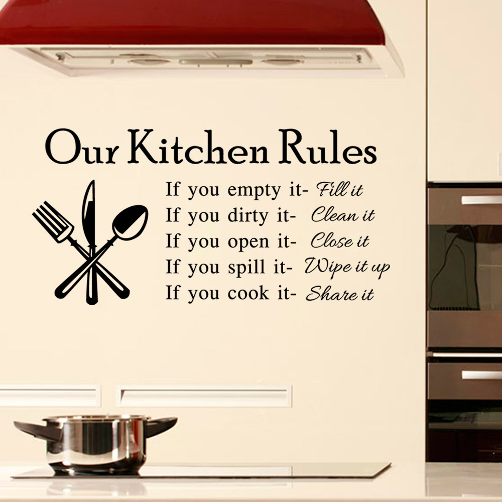 Quarto ingl s reglas cocina cocina azulejo de la pared pegatinas decoraci n para el hogar - Pegatinas para cocina ...