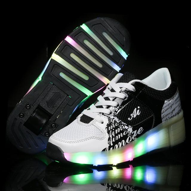 2016 детей Heelys колеса обувь с из светодиодов свет новый бренд дети роликовых коньках ...
