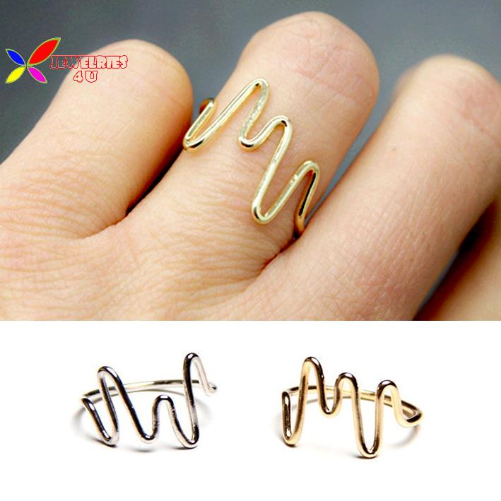 2015 new christmas gift fashion designer gold silver copper ECG shape finger rings for women bagues pour femmes(China (Mainland))