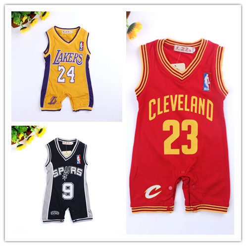 Retail Summer Style new jersey design baby romper basketball baby jumpsuit newborn kids clothes boys drop shipping(China (Mainland))