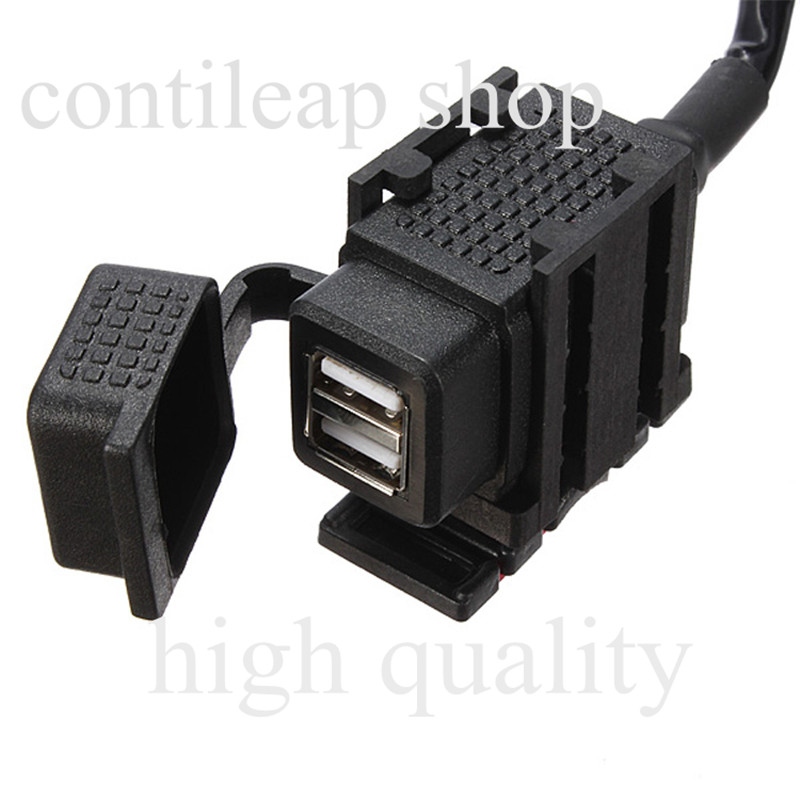 motocycle  waterproof Double USB Power System Charger Adapter Socket Plug Cable 12V 5V freeshiping <br><br>Aliexpress