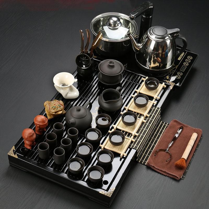 Drinkware Yixing purple sand cooking tools Kung fu tea set Solid wood tea tray tea ceremony
