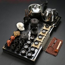 Drinkware Yixing purple sand Kung fu tea set Solid wood tea tray tea ceremony tea pot send tieguanyin