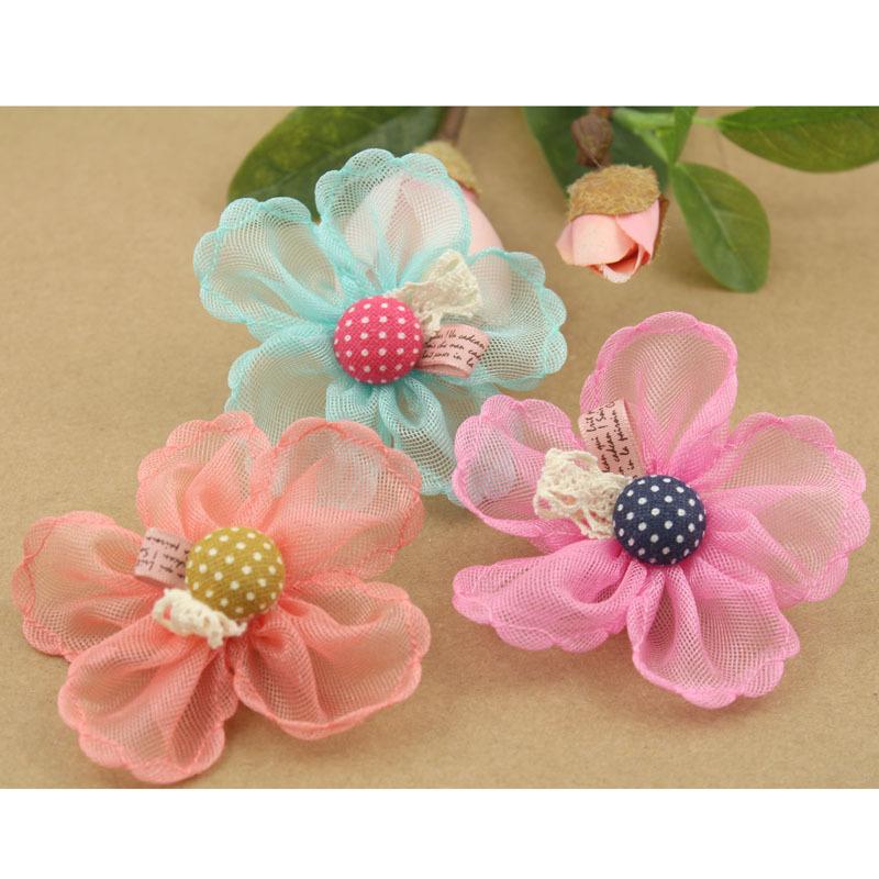 Korean girls hair diy accessories handmade net gauze bean flowers for wedding supplies decorative hair accessories for children(China (Mainland))