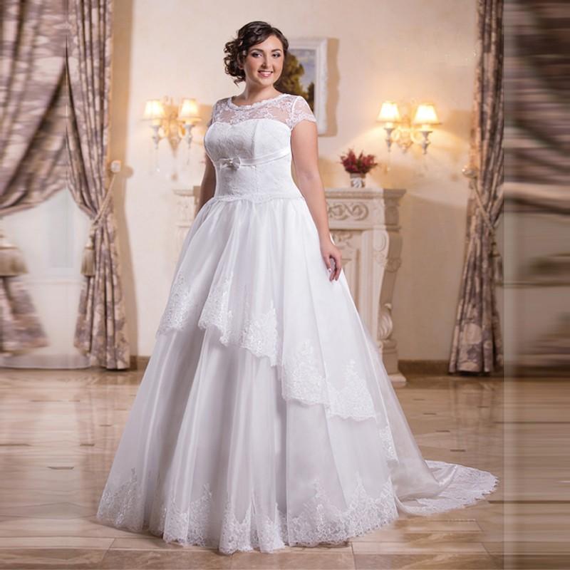 PWD6 Сшитое Плюс Размер платье-де-noiva де renda Новый с коротким Рукавом Кружева Свадебное Платье 2016 Casamento Vestidos de noiva