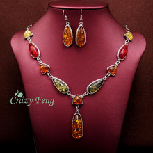 Women's Vintage Retro 18k Gold Plated Amber African Jewelry Sets Necklace + Earrings Wedding sets Free shipping(China (Mainland))