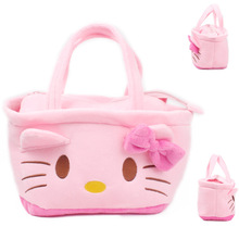 2017 Pink Color Cute Kawaii Cartoon Plush Shoulder Bags Cartoon Hello Kitty Shoulder Bag Women Children Handbag for Kids Girls(China (Mainland))