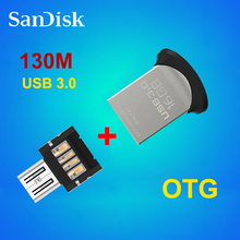 100%  Sandisk CZ43 USB 3.0 Flash Drive 130m/s  64gb 32gb 16gb + OTG adapter for Android Smartphone