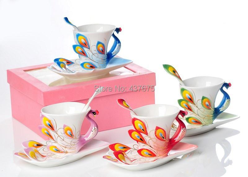 Discount 3pcs Peacock Franz Porcelain Coffee And Tea Set