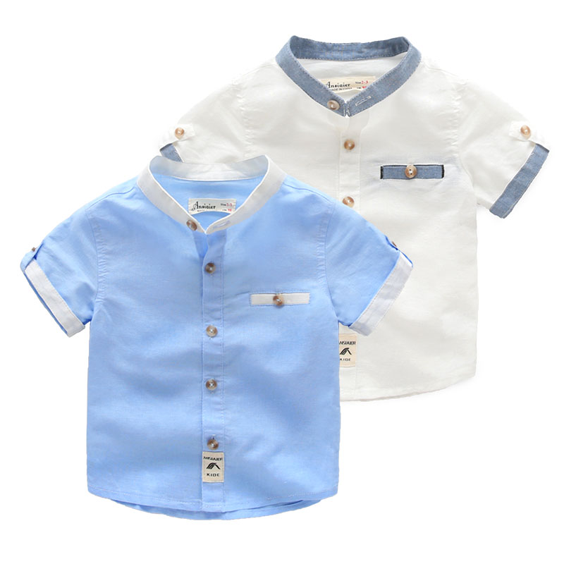 Baby cotton linen short sleeved shirt kids 2016 new boys summer collar shirt(China (Mainland))