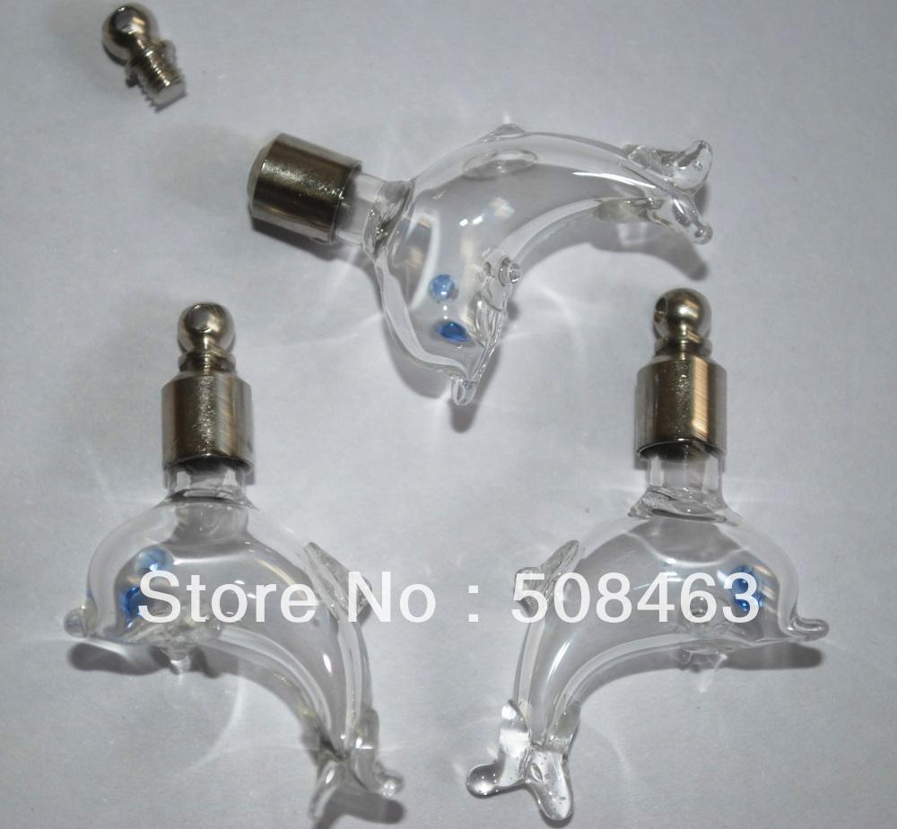 Free shp! 100pieces/lot lovely dolphin Vial Pendant (screw cap/mini/ glass/ charm/ rice/ bottle/miniature/vials/)<br><br>Aliexpress