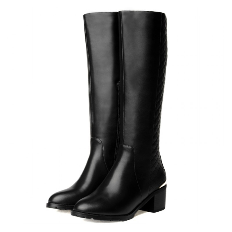 Free shipping 2015 winter Womens Full Grain Leather Knee High boots fashion riding boots for women EUR size:33-43<br><br>Aliexpress