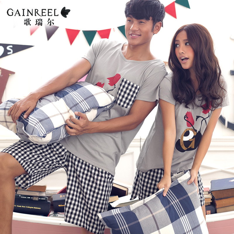 Male and female short sleeved cotton pajamas song Riel lovers cotton outer wear casual and comfortable