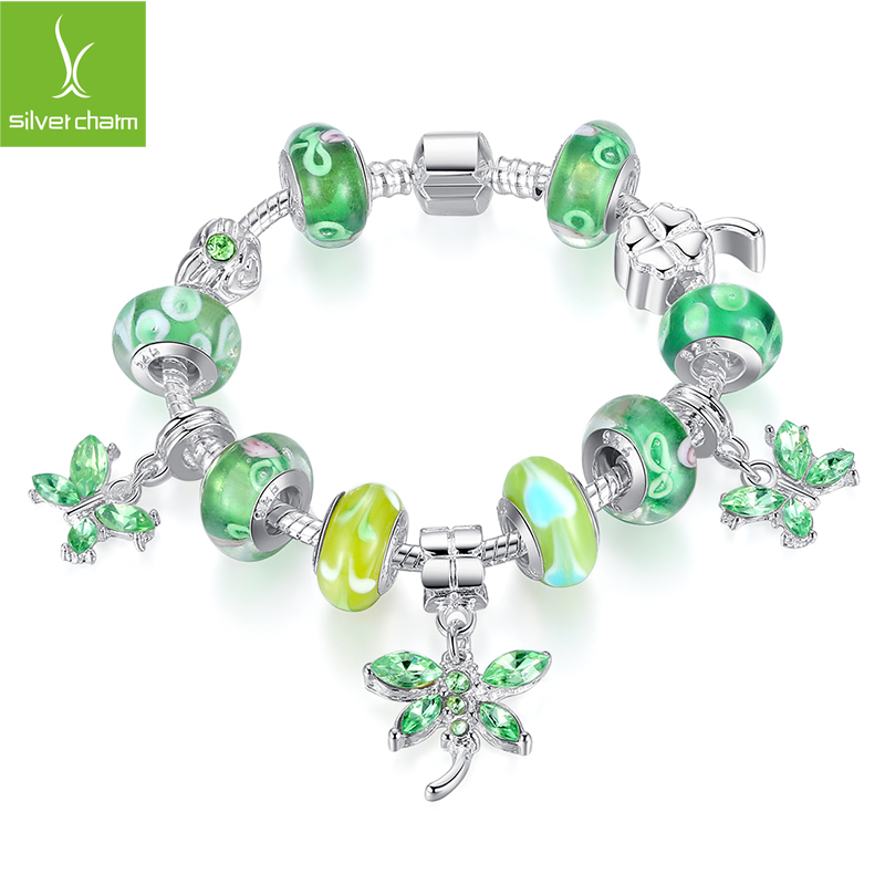 Hot Sale wholesale silver bead Charm Bracelet for women European Style Handmade 925 Silver jewelry XCH1191(China (Mainland))
