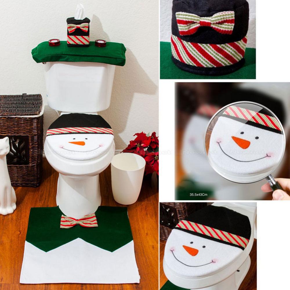 Set De Baño De Navidad: de nieve cubierta de asiento de tocador y alfombra de baño de set de