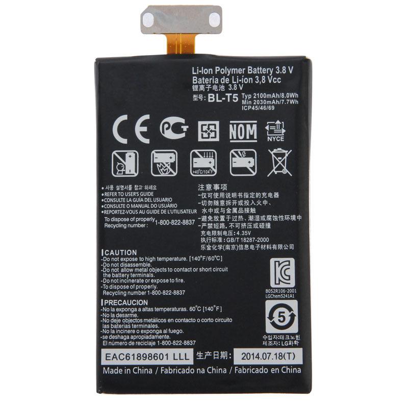 Гаджет  BL-T5 2100mAh Li-ion Polymer Battery Fit Flex Cable for LG Nexus 4 E960 / E975 / E973 / E970 / F180 None Электротехническое оборудование и материалы