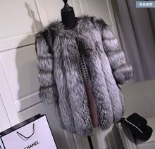 2015 Autumn Winter coat warm New Silver Fox Fur coat outerwear womens fashion fur coat plus size S-4XL(China (Mainland))