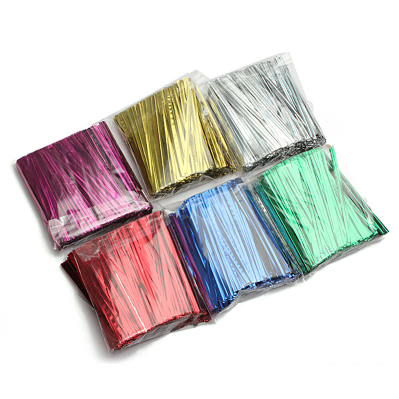 800Pcs/lot Wedding Cake Packing Party Practical Colorful Metallic Ribbons Twist Tie Wire Bag Candy Gift Lollipop Home Decoration(China (Mainland))