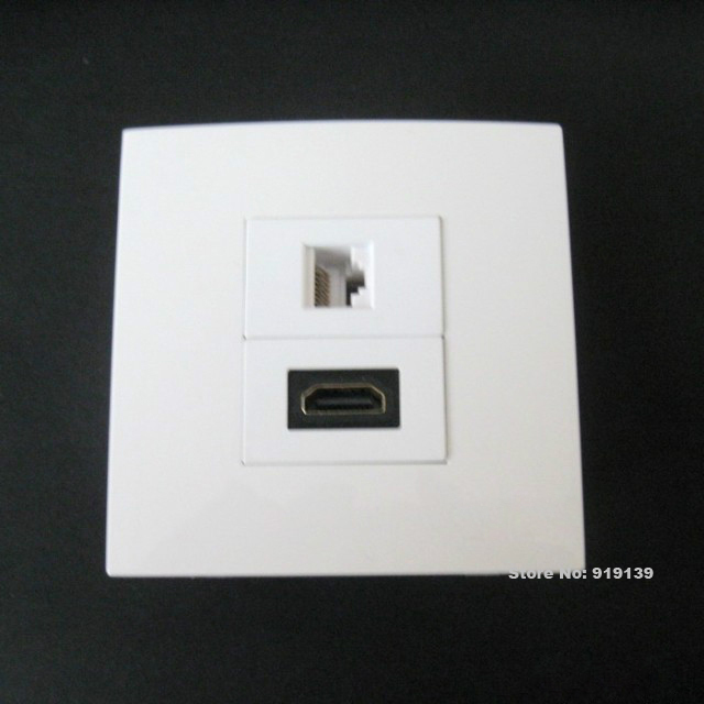 Home Application Cheap Price Socket HDM + RJ45 Network Wall Panel Connector 86x86mm Easy Install(China (Mainland))