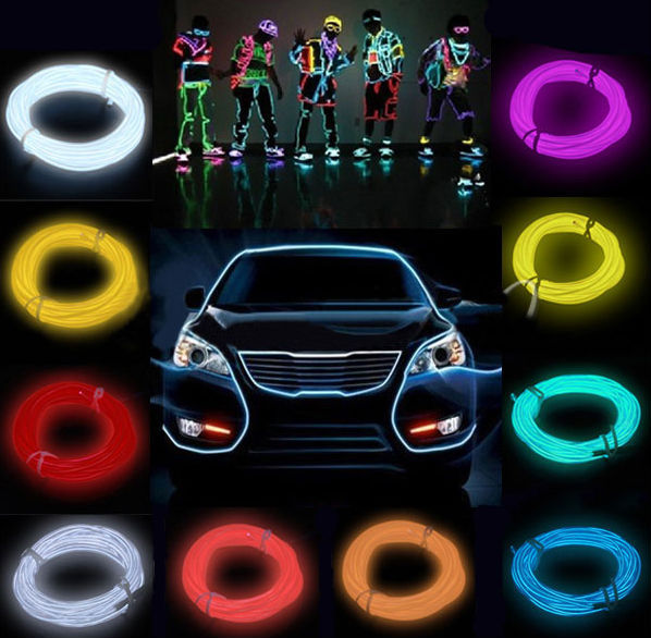 wholesale blue flexible neon light + Battery pack Powered 1m glow el wire rope flat led strip for car interior lights 8 Colors(China (Mainland))