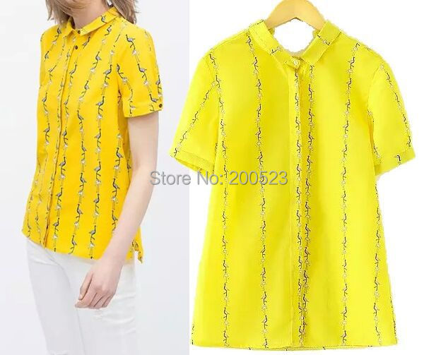 New Fashion Womens' Elegant cute little Ostrich print yellow blouses vintage short sleeve shirts casual slim brand tops WL4-013(China (Mainland))