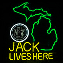 FS Neon Sign Jack Daniels Lives Here Michigan Whiskey Beer Bar Handcrafted Real Glass Tube Neon Light Sign 24x20 the Best Offer(China (Mainland))