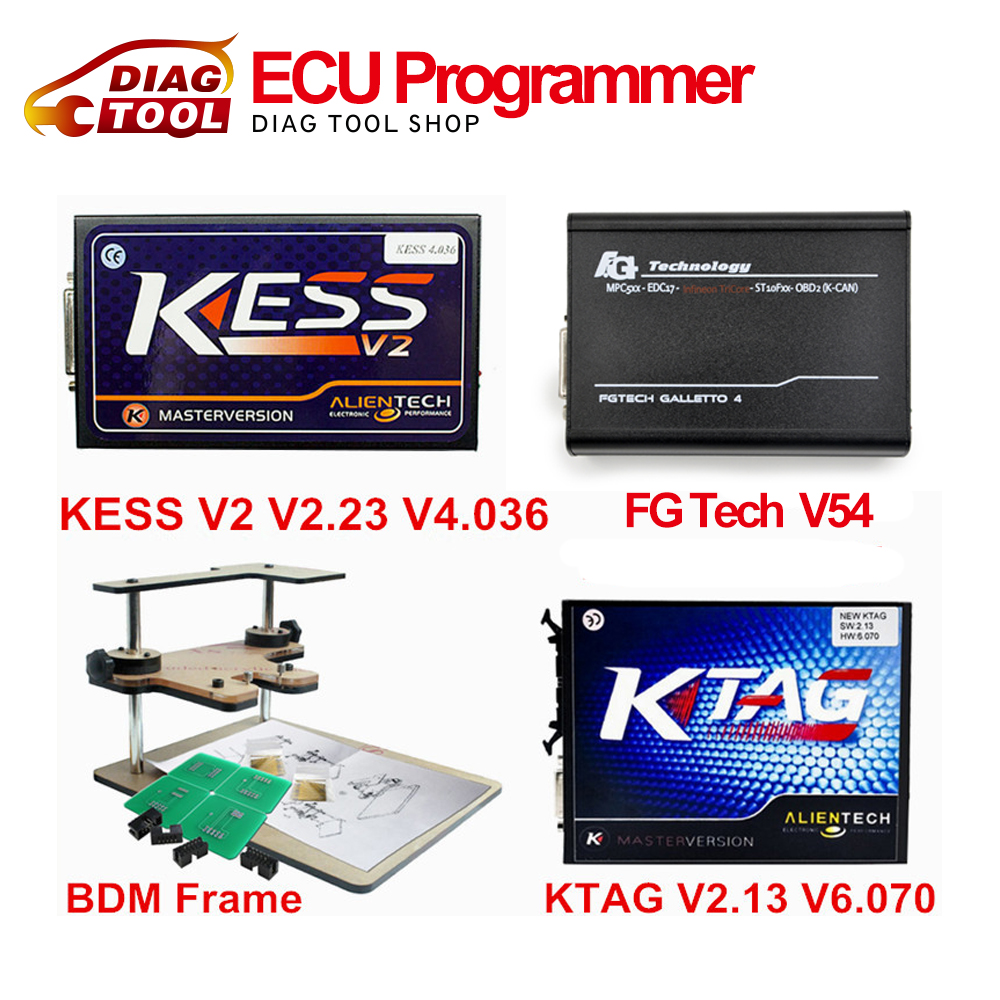 DHL Free Newest Version ECU Programmer KTAG V2.13+V2.23 KESS V2+FG TECH Galletto 4 V54+BDM FRAME Full Adapters No Tokens(China (Mainland))