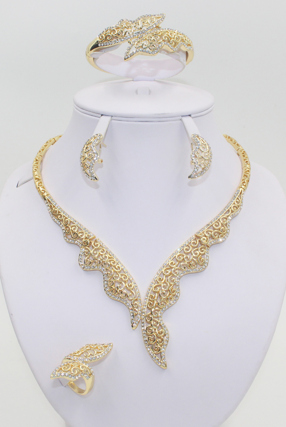 2015 new listed 18 k Gold Plated Mysterious Charming Necklace Fashion Romantic Wedding Bridal Costume Jewelry Sets(China (Mainland))