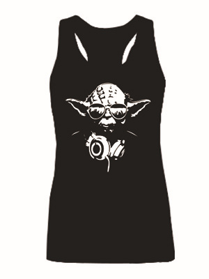 Yoda DJ Hip Hop Jedi Master Headphones Women's Star Wars Tank Tops Girl's Fashion Vest Tops Ladies Sleeveless Custom Tanks(China (Mainland))