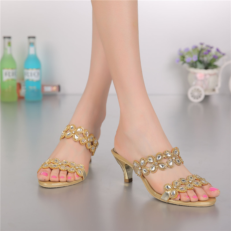 Shoes New Arrival Unisex The Korean Version Of 2015 New Diamond High-heeled Slippers Sandals With Shoes Size Coarse Code Agency(China (Mainland))