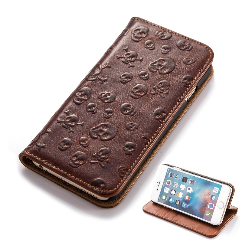 Real Genuine Leather Card Wallet Case iPhone 6 6S Plus Cell Phone 3D Skull Texture Magnet Flip Smart Cover Stand - New Surprise Store store