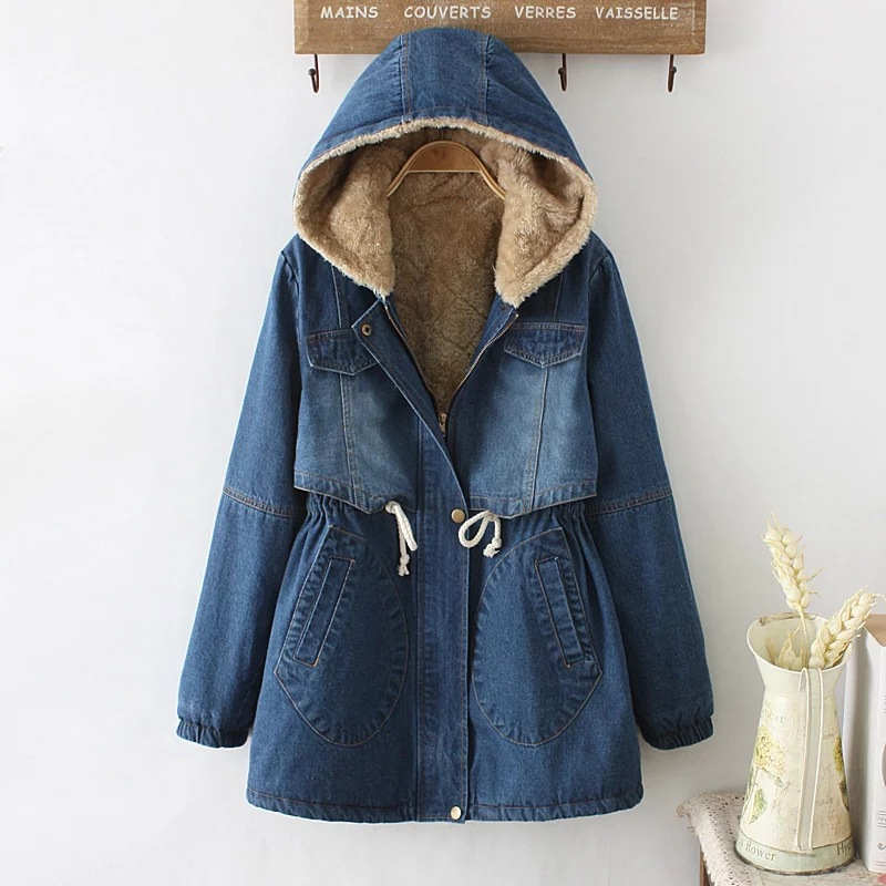 autumn winter fur fleece hooded cotton denim slim vintage harajuku giacche donna denim ethnic boho chaqueta women jacket coat