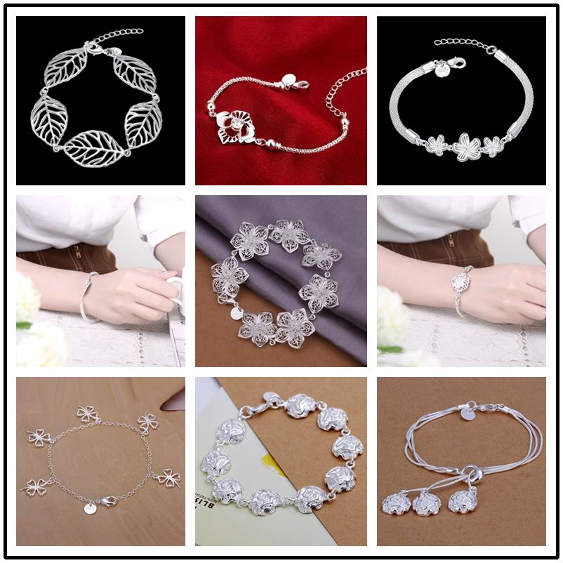 Hot Sell! Wholesale 925 stamped silver plated Bracelet,Fashion Jewelry,New Design Flower Bracelet 9 styles Free Shipping(China (Mainland))