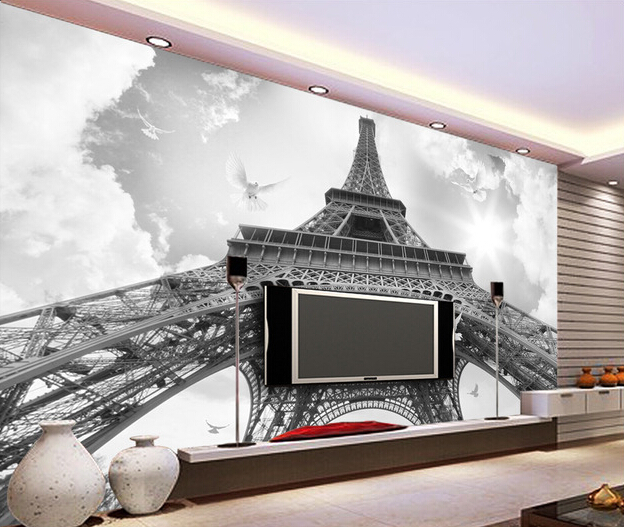Custom photo wallpaper the black and white eiffel tower for Eiffel tower wall mural black and white