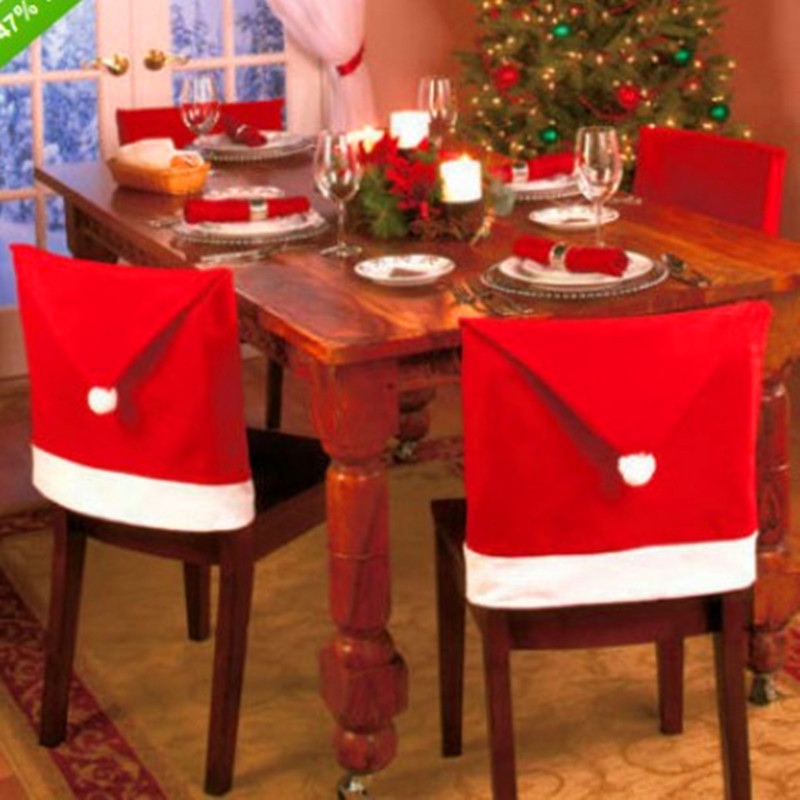 Hot Sale 4pcs/set Red Hat Chair Covers Christmas Decorations Dinner Decor Chair Sets Merry Christmas Gift(China (Mainland))
