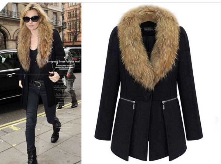 2014 new autumn winter Europe America large size women fat mm long section woolen coat fur collar - haoyunlai888 store