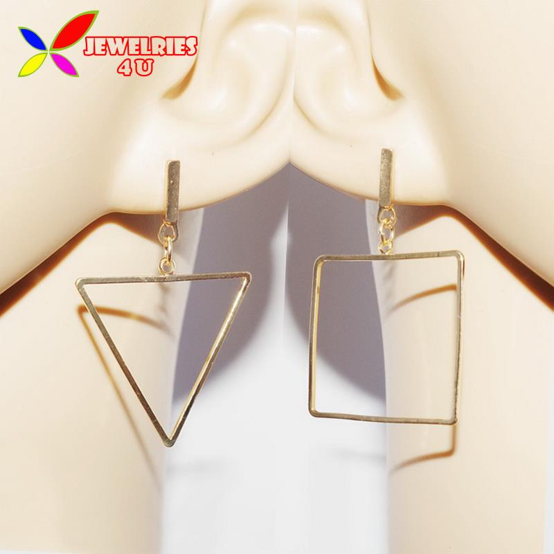 2016 Fashion Designer Mix-matched Gold Silver Copper Square Triangle Geometric Drop Earrings for Women joyas pendiente(China (Mainland))
