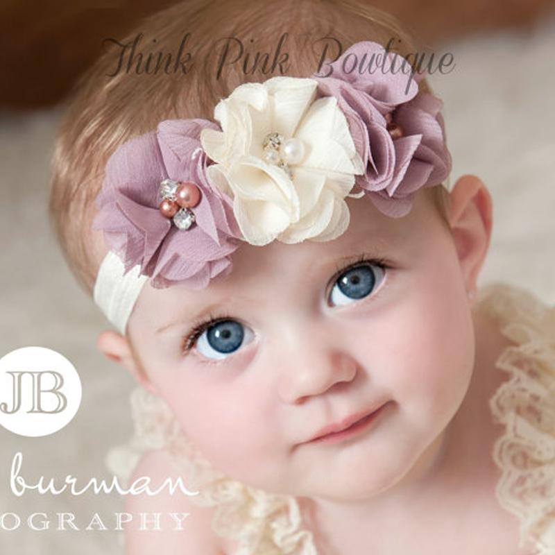 2016 Baby Rhinestone Ribbon Pearl diamond Baby Girls Hand sewing Flowers Headbands Kids Hair Accessories W045(China (Mainland))