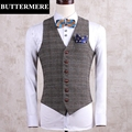 Plaid Suit Vest Mens Tweed Wedding Waistcoat Sleeveless Suit Blazer Designer Clothing Spring Autumn Slim Fit